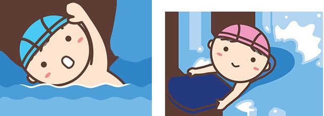子ども水泳コース (水慣れ~4泳法習得、遠泳、学校水泳対策)